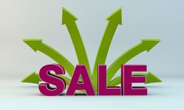 Arrows and sale. Background on the green arrows and sale Stock Images