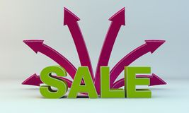 Arrows and sale. Background on the green arrows and sale Royalty Free Stock Photo
