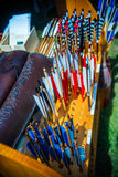 Arrows on sale on the medieval market Royalty Free Stock Photos