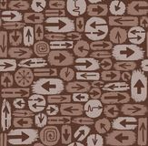 Arrows seamless pattern, brown. Royalty Free Stock Photo