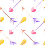 Arrows seamless pattern. Heart Royalty Free Stock Photo