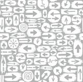 Arrows seamless pattern, white and grey. Stock Images