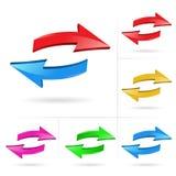 Arrows set. 3D arrow color sketchy design elements set vector illustration #1 stock illustration
