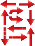 Arrows set. Set of different red arrows Stock Illustration