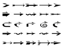 arrows set in black-white gradient Royalty Free Stock Image