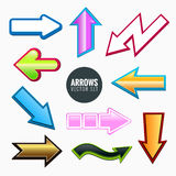 Arrows set, colorful different styles Stock Photos