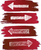Arrows set grunge. Background red and white Royalty Free Stock Photo