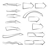 Arrows1. Set of hand-drawn arrows on white background.Sketched style Royalty Free Stock Photography