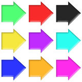 Arrows set plastic style multicolor (02) Stock Photography