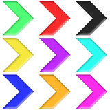 Arrows set plastic style multicolor (04). Icons arrows. Large-format ideal for website. cut and rotate to get directions Royalty Free Stock Photography