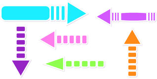Arrows. Set of arrows in six colours Royalty Free Stock Photography