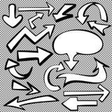 Arrows set sketch hand drawn cartoon vector Stock Image