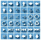 Arrows set. Vector on the blue background stock illustration