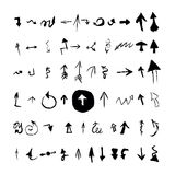 Arrows set. Vector hand drawn with ink in brush Royalty Free Stock Photography
