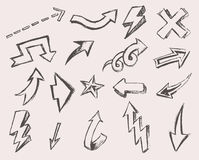 Arrows Set Vector  Hand Drawn Sketched Design Stock Photos