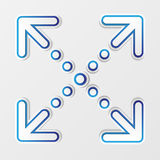 Arrows with shadow. Four blue and white arrow signs isolated on gray background Stock Image
