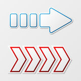 Arrows with shadow. Set of two arrows different colors and forms Royalty Free Illustration