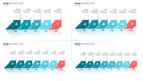 Arrows shaped timeline infographic templates. 5 6 7 8 steps, opt Royalty Free Stock Photo