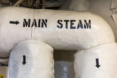 Main Steam Pipes. Arrows show direction of main steam in the engine room heading to the turbine propulsion system Royalty Free Stock Photos