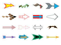 Arrows sign. Set of grunge arrows on white background Stock Images