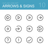 Arrows and signs vector outline icon set Stock Image