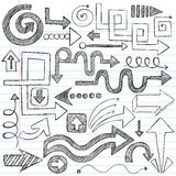 Arrows Sketchy Notebook Doodles Vector Set Stock Photo