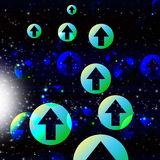 Arrows Space Background Shows Direction And Forces Stock Photo