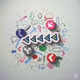 Arrows and speech bubbles collage with icons Royalty Free Stock Images