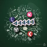 Arrows and speech bubbles collage with icons on Stock Photo
