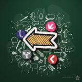 Arrows and speech bubbles collage with icons on. Blackboard. Vector illustration Stock Photos
