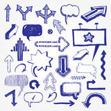 Arrows and speech bubbles set Stock Photography