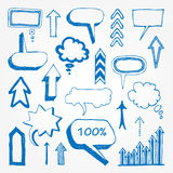 Arrows and speech bubbles set Stock Photo
