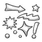 Arrows, stars, bubbles, point, lightning, exclamation mark. Vintage vector engraving Stock Photos