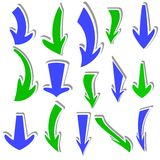 Arrows stickers different colors and shapes. Royalty Free Stock Photos