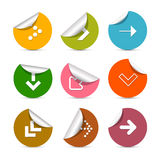 Arrows Stickers Set in Circles Royalty Free Stock Images