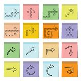Arrows sticky note paper. Set of 16 arrow icons in colorful sticky note paper Royalty Free Stock Image