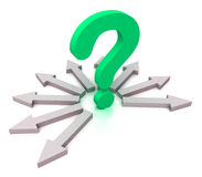 Arrows Surrounding Green Question Shows Choice Royalty Free Stock Photos