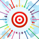 Arrows Surrounding a Target. Vector Illustration of a dart as a Target surrounding by many arrows with cloud Background Royalty Free Stock Images