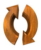 Arrows symbol in wood - 3D. Made Royalty Free Stock Images