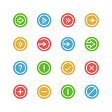 Arrows and symbols colored icon set Royalty Free Stock Image