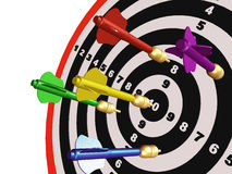 Arrows on the target. Colored arrows on the center of target Royalty Free Stock Image