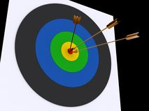 Arrows and target. 3d rendered arrows in the center of target Royalty Free Stock Photography