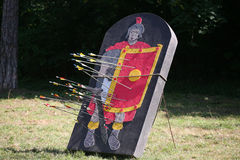 Arrows and target as a legionary on a historical fighting  show Royalty Free Stock Image