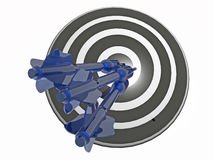 Arrows on the target. Blue arrows on the target, white background, 3D illustration Stock Images