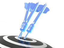 Arrows on the target. Blue arrows on the target, white background, 3D illustration Stock Photo