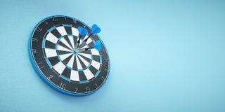 Arrows on target dart on blue background. 3d Illustration Stock Photography