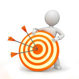 Arrows on target with figure. What figure holding orange and yellow target with arrows Stock Photography