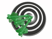 Arrows on the target. Green arrows on the target, white background, 3D illustration Royalty Free Stock Photo