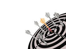 Arrows on the target. Grey and red arrows on the target, white background, 3D illustration Royalty Free Stock Image