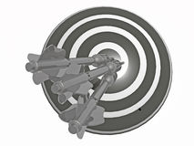 Arrows on the target. Grey arrows on the target, white background, 3D illustration Royalty Free Stock Photography